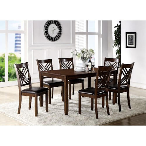 Crown Mark Eloise Dining Room Table with Six Crossback Side Chairs