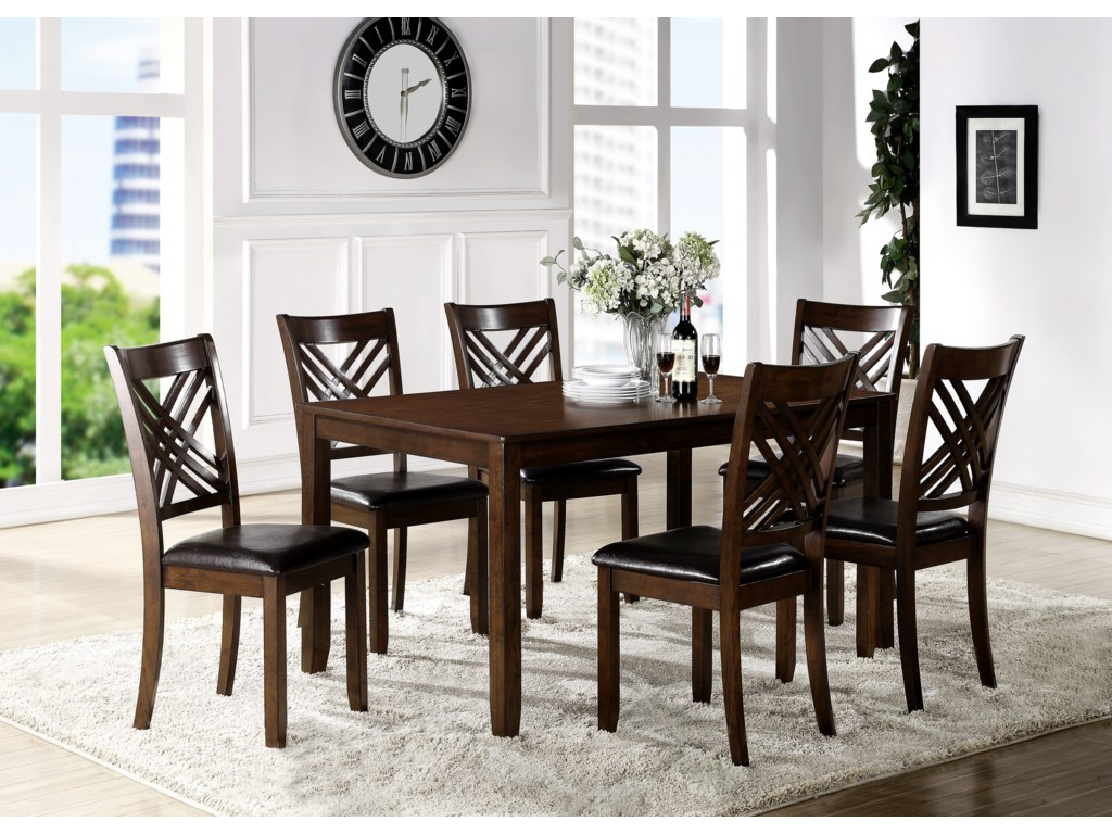 Crown Mark EloiseDining Room Table with Six Side Chairs