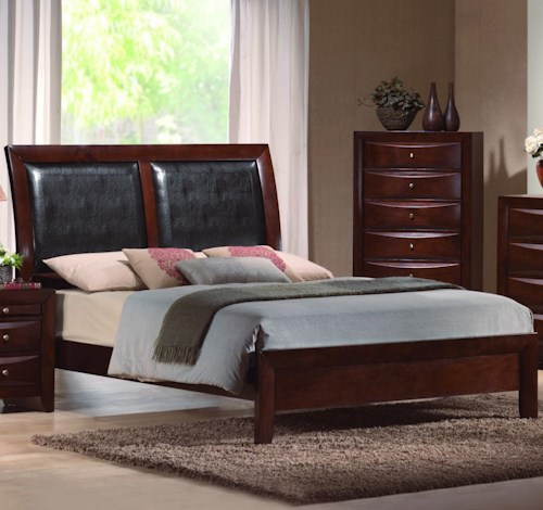 CM Emily Queen Platform Bed with Upholstered Sleigh Headboard