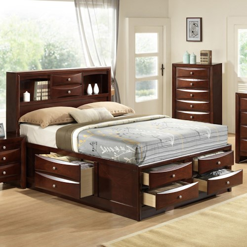 Crown Mark Emily Queen Captain's Bed with Bookcase Headboard