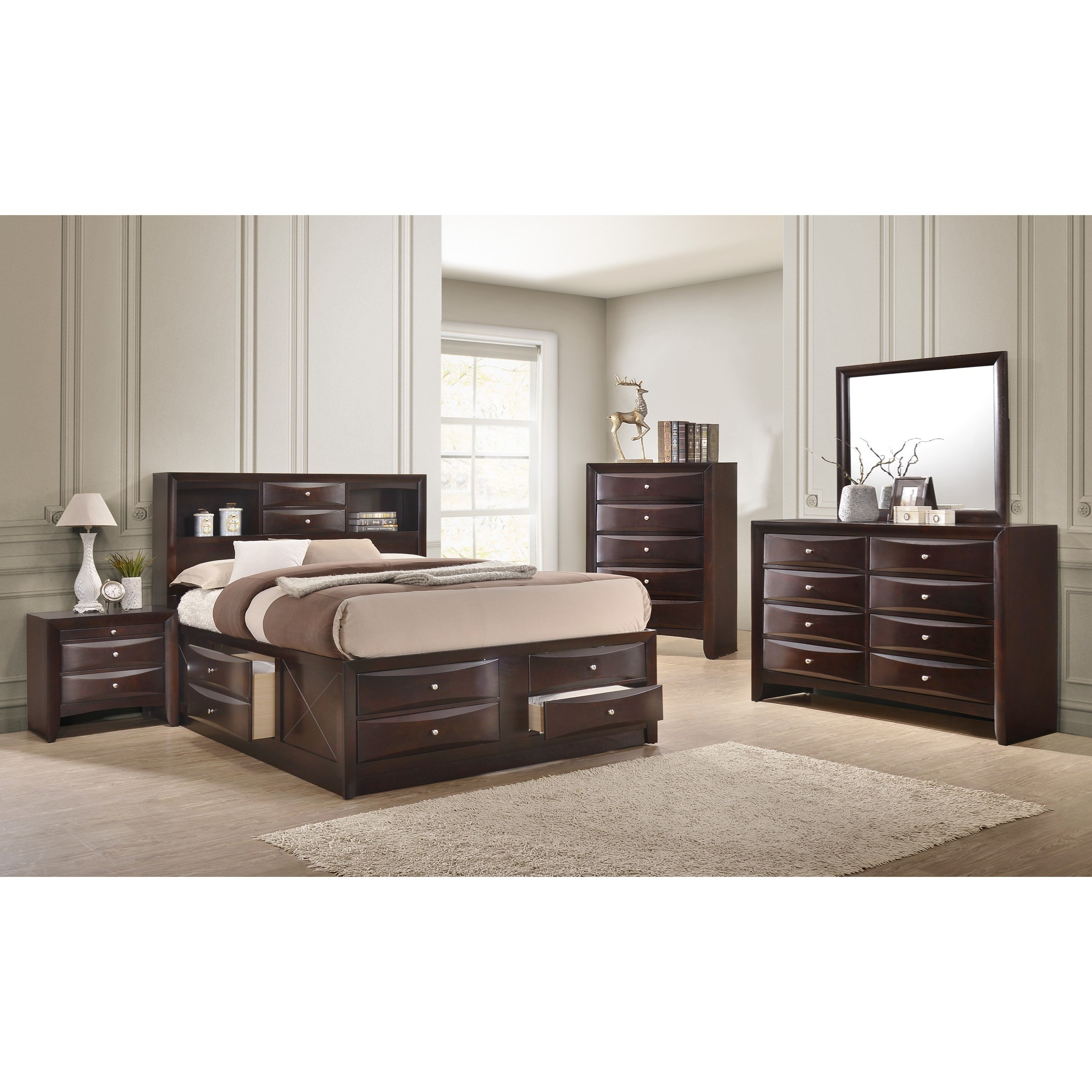 Crown Mark Emily Contemporary King Captain S Bed With Bookcase Headboard Royal Furniture Captain S Beds