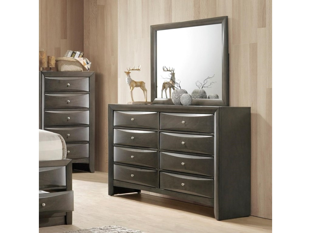 Crown Mark Emily Contemporary 8 Drawer Dresser With Mirror Rooms