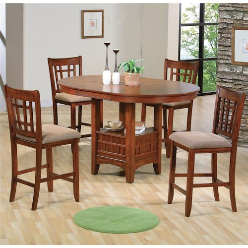 Crown Mark Empire Counter Height Dining Table and Chair Set with Upholstered Seats