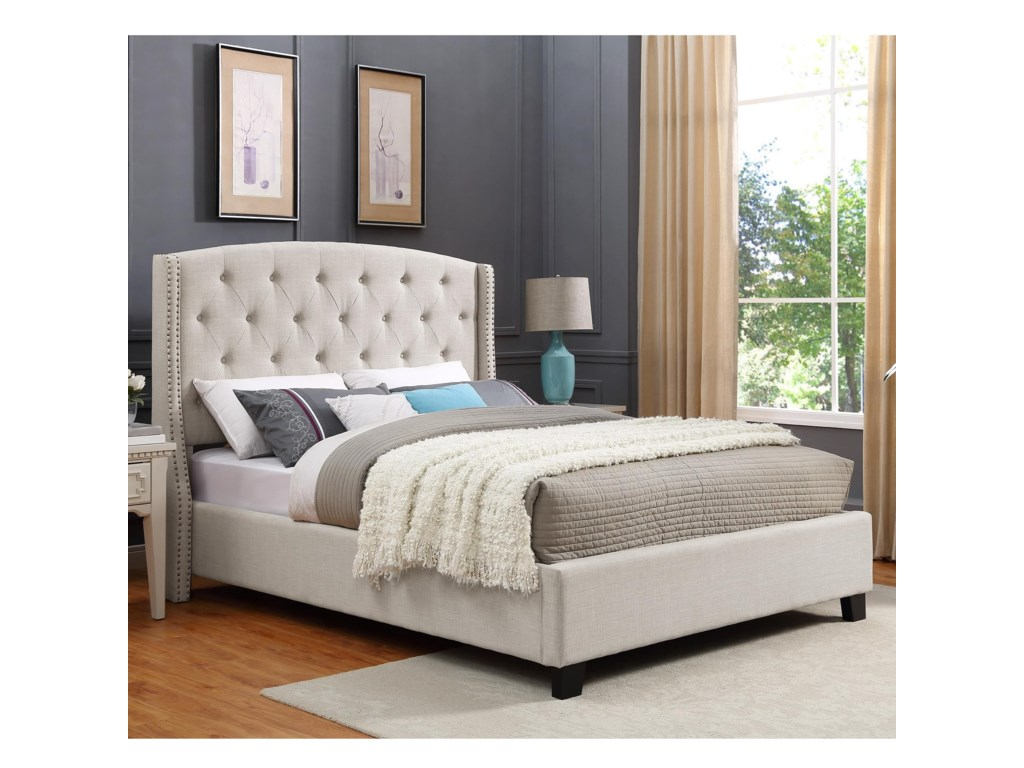 Crown Mark EvaUpholstered King Bed