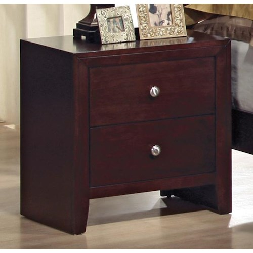 Crown Mark Evan 2 Drawer Night Stand