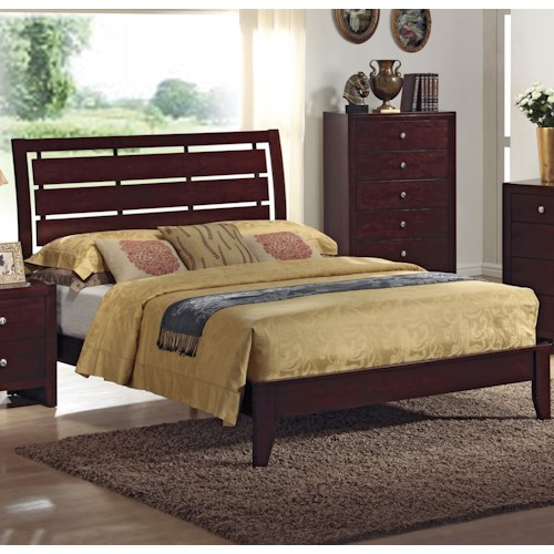 Crown Mark Evan California King Bed with Headboard Cutouts