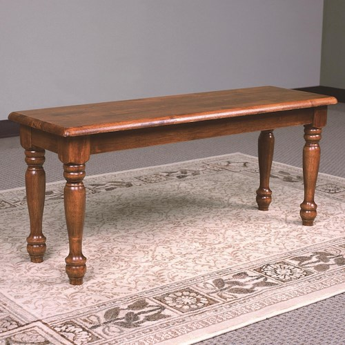 Crown Mark Farmhouse Oak Bench with Turned Legs