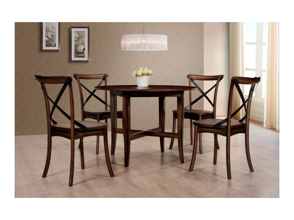 Crown Mark FarrisRound Five Piece Dining Set