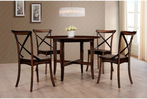 Crown Mark Farris Round Five Piece Dining Set