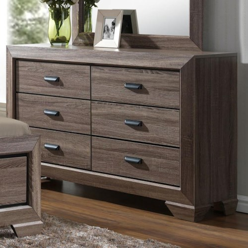 Crown Mark Farrow Transitional Dresser with Six Drawers