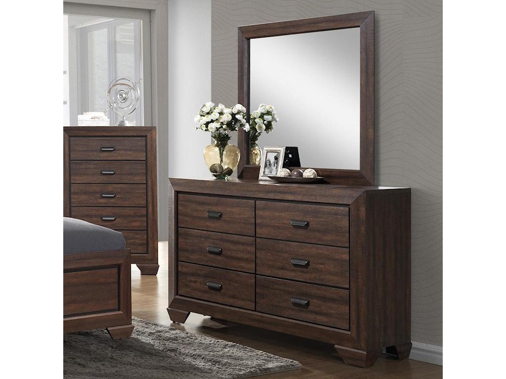 Crown Mark Farrow Contemporary Dresser and Mirror Set | Royal ...