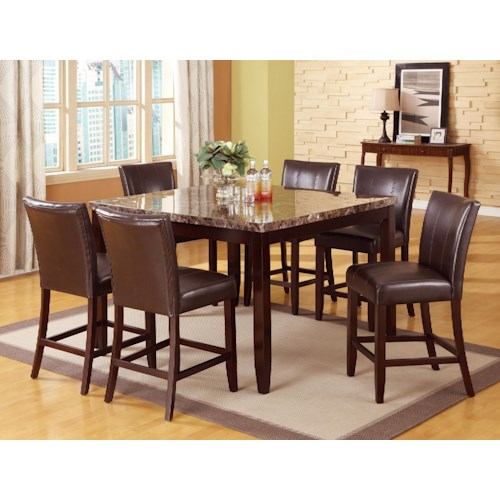Crown Mark Ferrara 7 Piece Pub Table and Counter Height Chairs Set