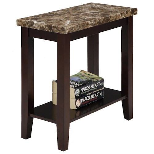 Crown Mark Ferrara Chairside Table with Lower Shelf