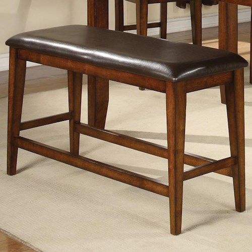 Crown Mark Figaro Counter Height Bench with Upholstered Seat