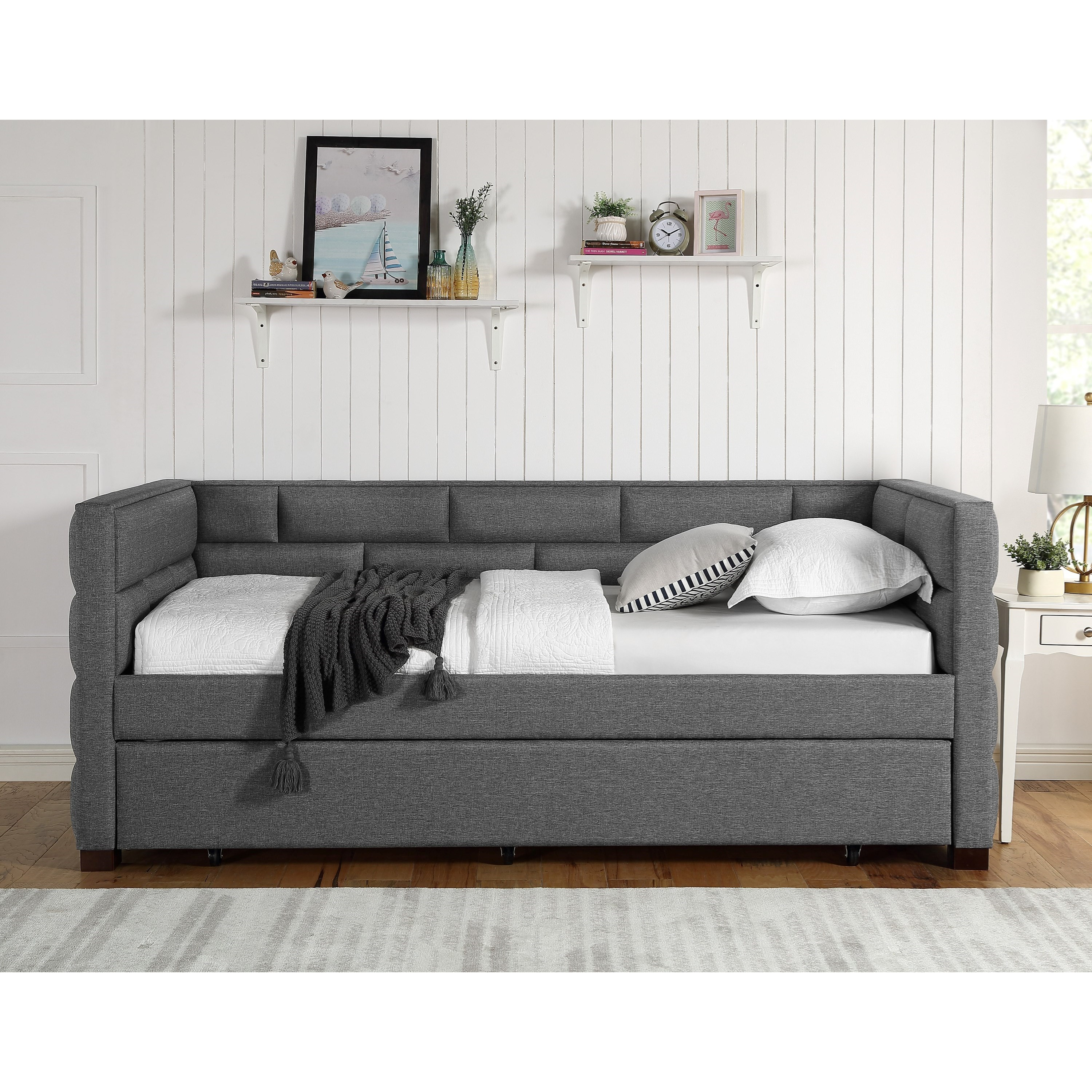 Picture of: Crown Mark Flannery Contemporary Upholstered Daybed With Pull Out Trundle Bed Royal Furniture Daybeds
