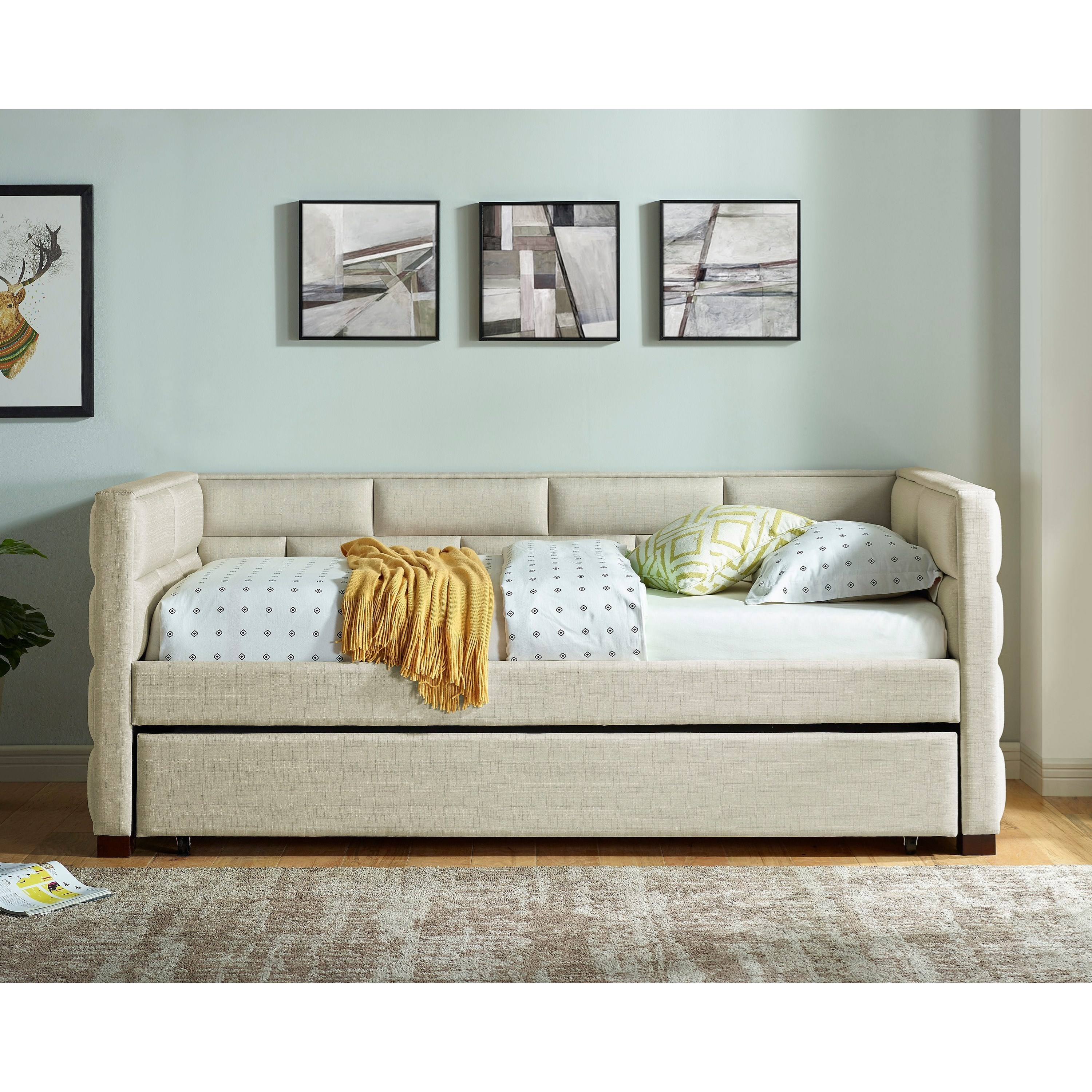 Contemporary Upholstered Daybed with Pull-Out Trundle Bed