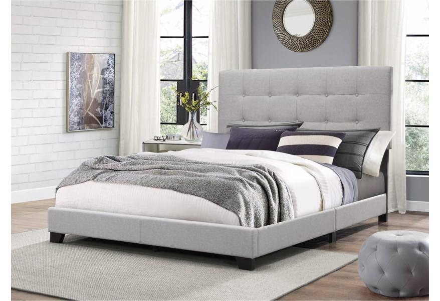 Crown Mark Florence 5270gy K King Upholstered Bed With Button Tufting Dunk Bright Furniture Upholstered Beds