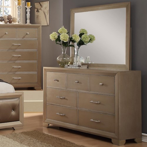 Crown Mark Fontaine Dresser and Mirror Set with Golden Metallic Finish