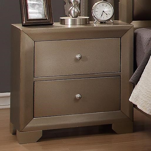 Crown Mark Fontaine Nightstand With Golden Metallic Finish