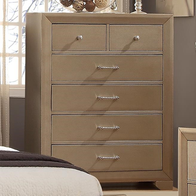 Crown Mark Fontaine Chest Of Drawers With Metallic Finish