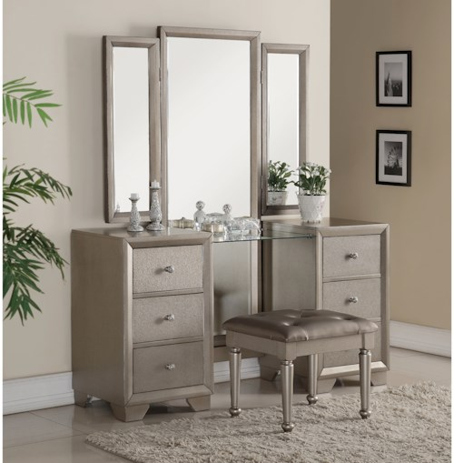 Crown Mark Fontaine Vanity with Full Body Mirror