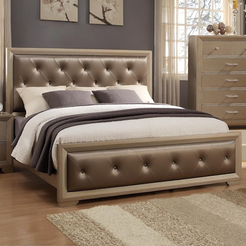 Crown Mark Fontaine Queen Upholstered Bed with Golden Metallic Frame