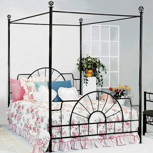 Crown Mark Foundry Queen Canopy Bed with Metal Frame and Bed Knobs
