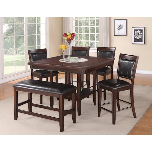 Crown Mark Fulton 6-Pc Counter Height Table, Chair & Bench Set