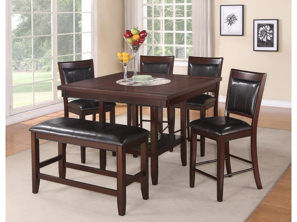 Crown Mark Fulton6 Pc Counter Height Table Chair Bench Set