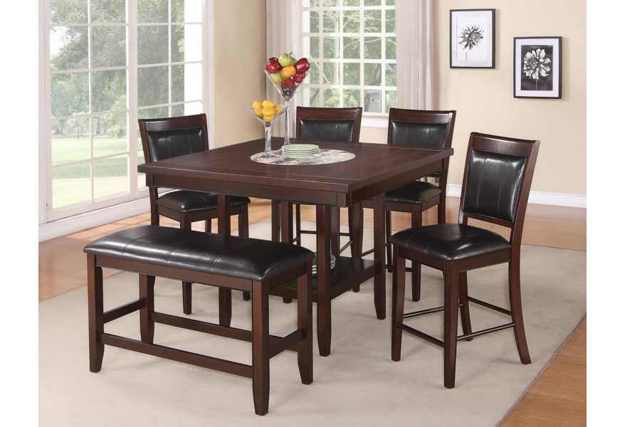 Fulton 6-Pc Counter Height Table, Chair & Bench Set by Crown Mark at Dunk &  Bright Furniture