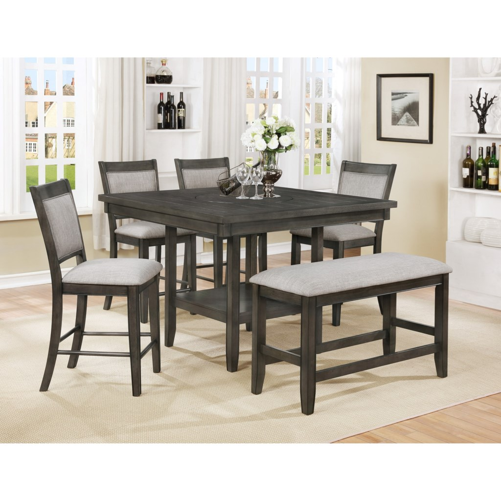 Crown Mark Fulton 6 Pc Counter Height Table Chair Bench Set