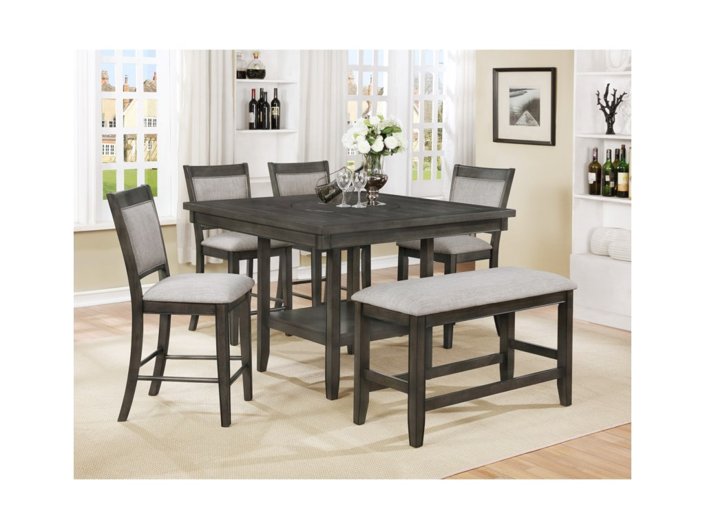 Crown Mark Fulton6-Pc Counter Height Table, Chair & Bench Set