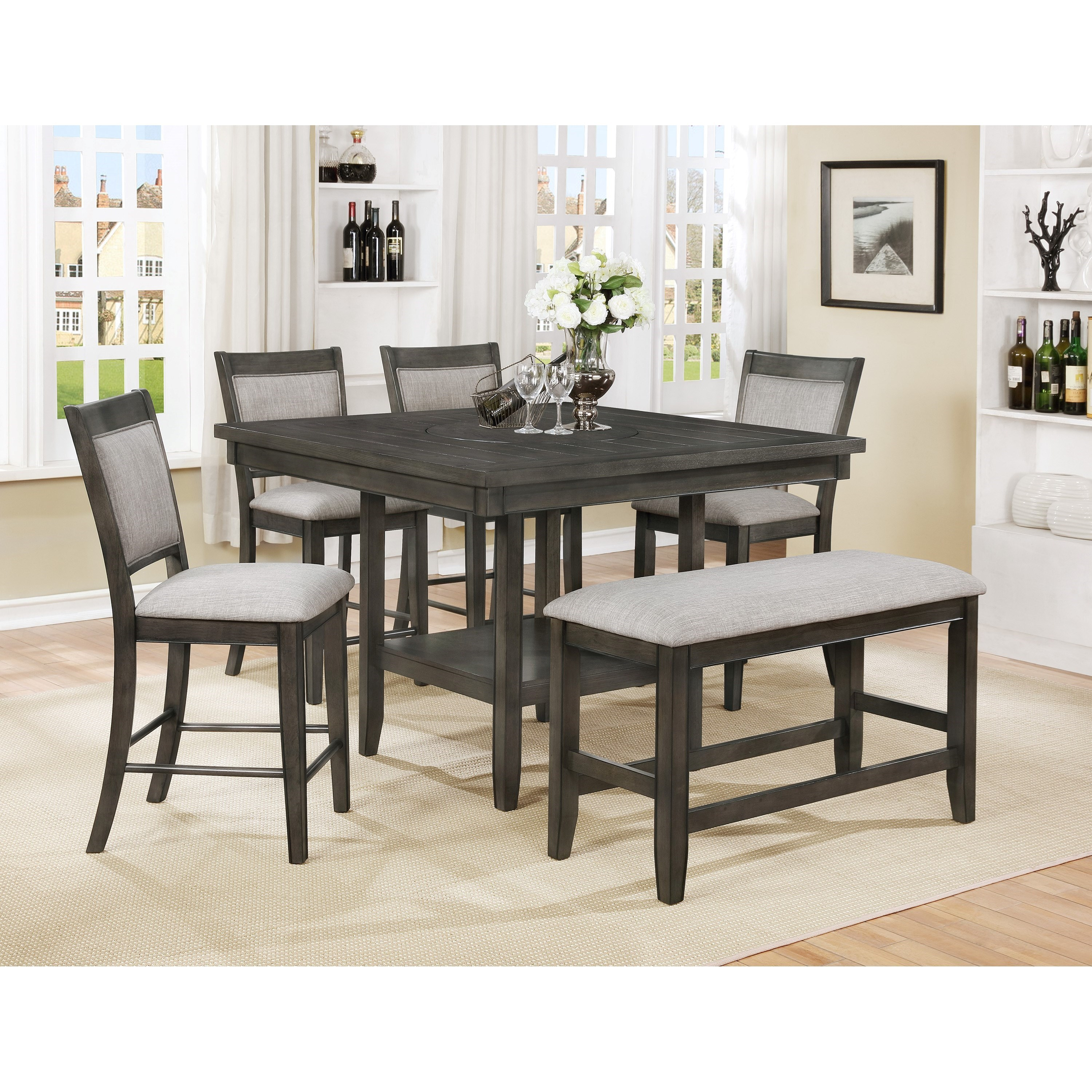 Ordinaire Crown Mark Fulton6 Pc Counter Height Table, Chair U0026 Bench Set ...