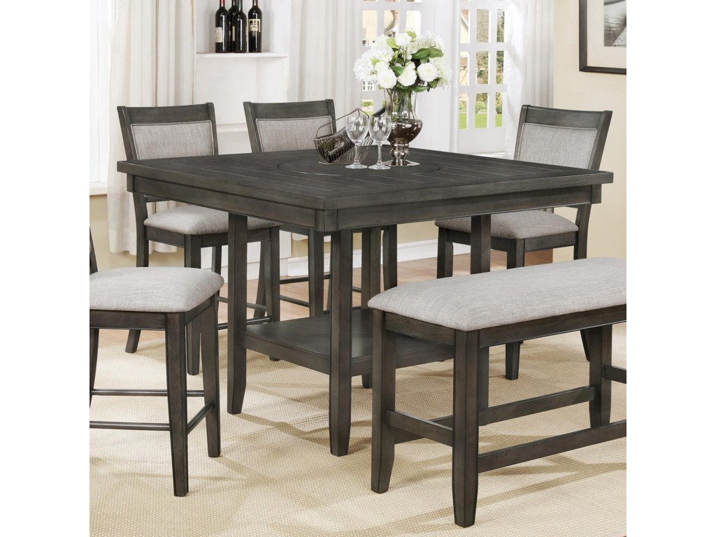 Crown Mark Fulton Counter Height Table with 9 Inch Lazy Susan ...