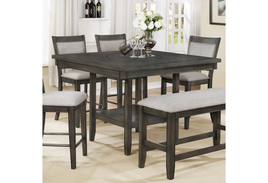 Crown Mark Fulton 331 11530 2 300 11530 1 Counter Height Table With Lazy Susan And Upholstered Chair Set Furniture Fair North Carolina Pub Table And Stool Sets