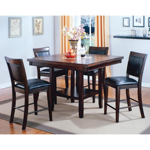 CM Fulton 5-Pc. Counter Height Table with Lazy Susan and Upholstered Chair Set