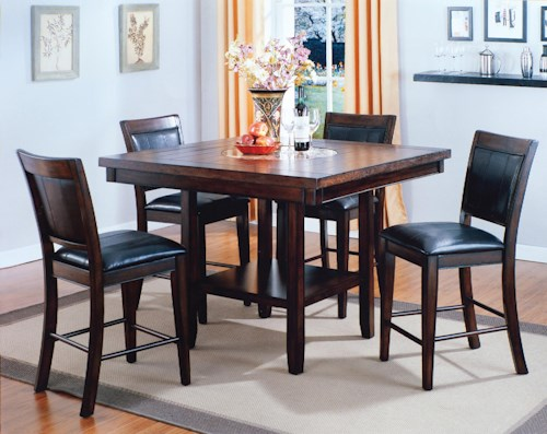 Crown Mark Fulton 5-Pc. Counter Height Table with Lazy Susan and Upholstered Chair Set