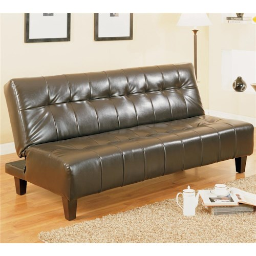 Crown Mark Futons & Daybeds Adjustable Sofa with Exposed Tapered Wood Legs