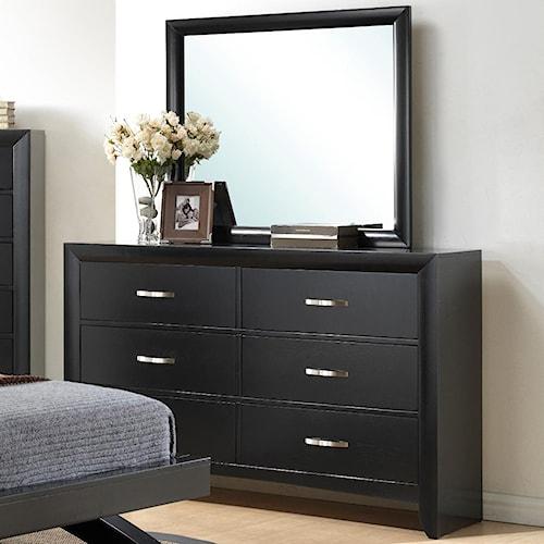 Crown Mark Galinda  6 Drawer Dresser & Mirror Combo