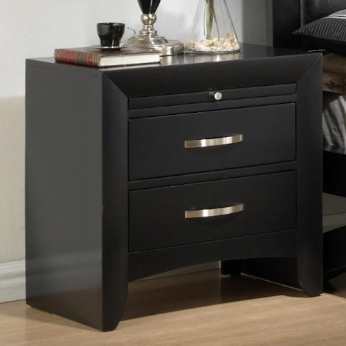 Crown Mark Galinda  2 Drawer Night Stand with Pull Out Tray