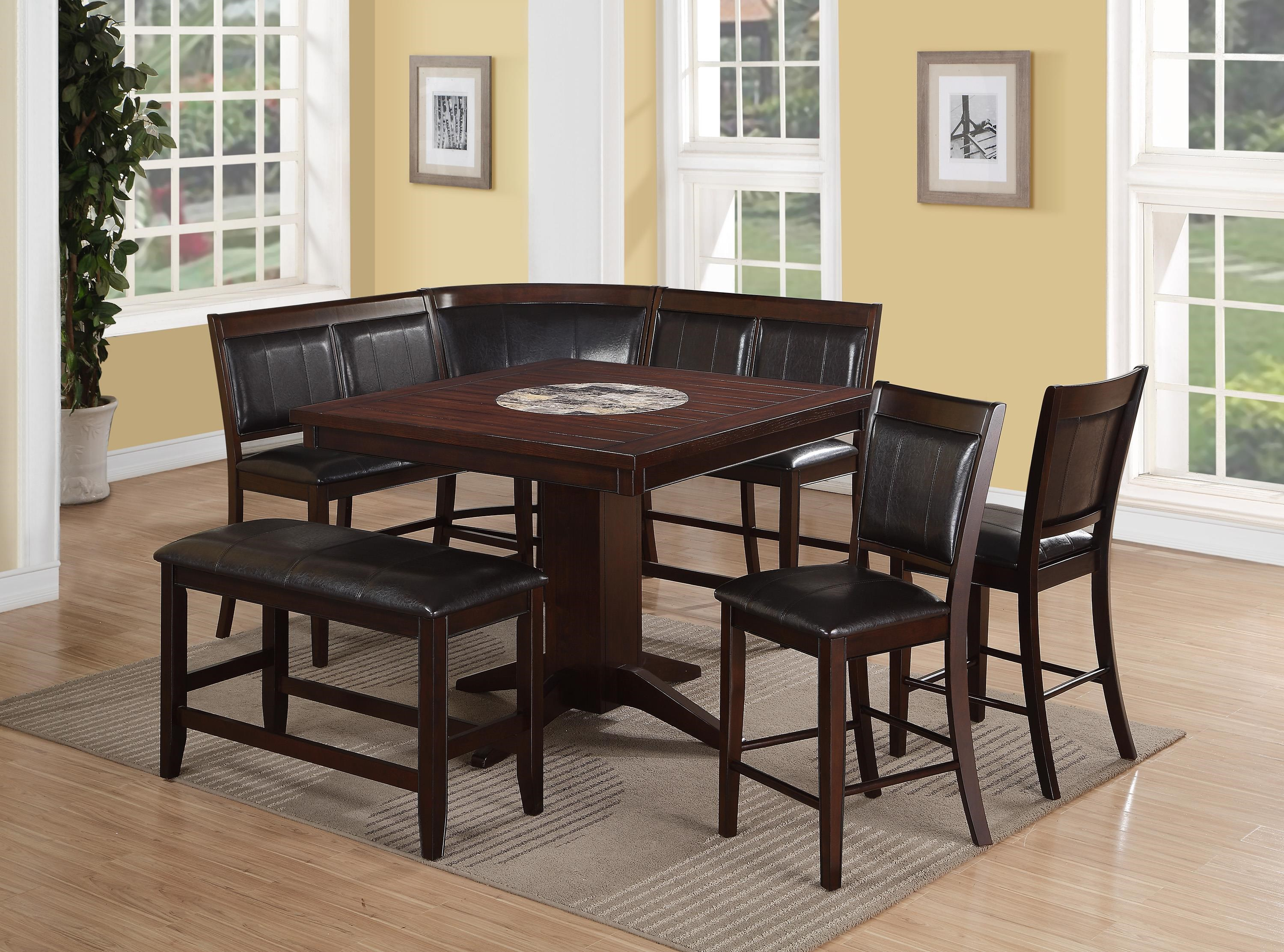 Great Crown Mark Harrison 7 Piece Counter Height Dining Set With Upholstered  Bench And High Back Benches