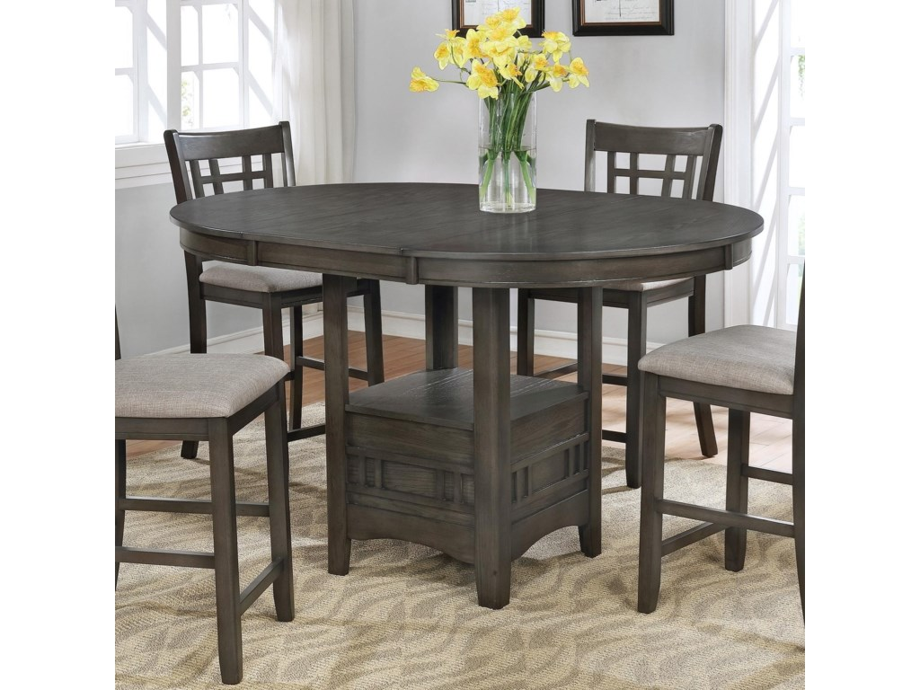 Hartwell Single Pedestal Counter Height Pub Table By Crown Mark