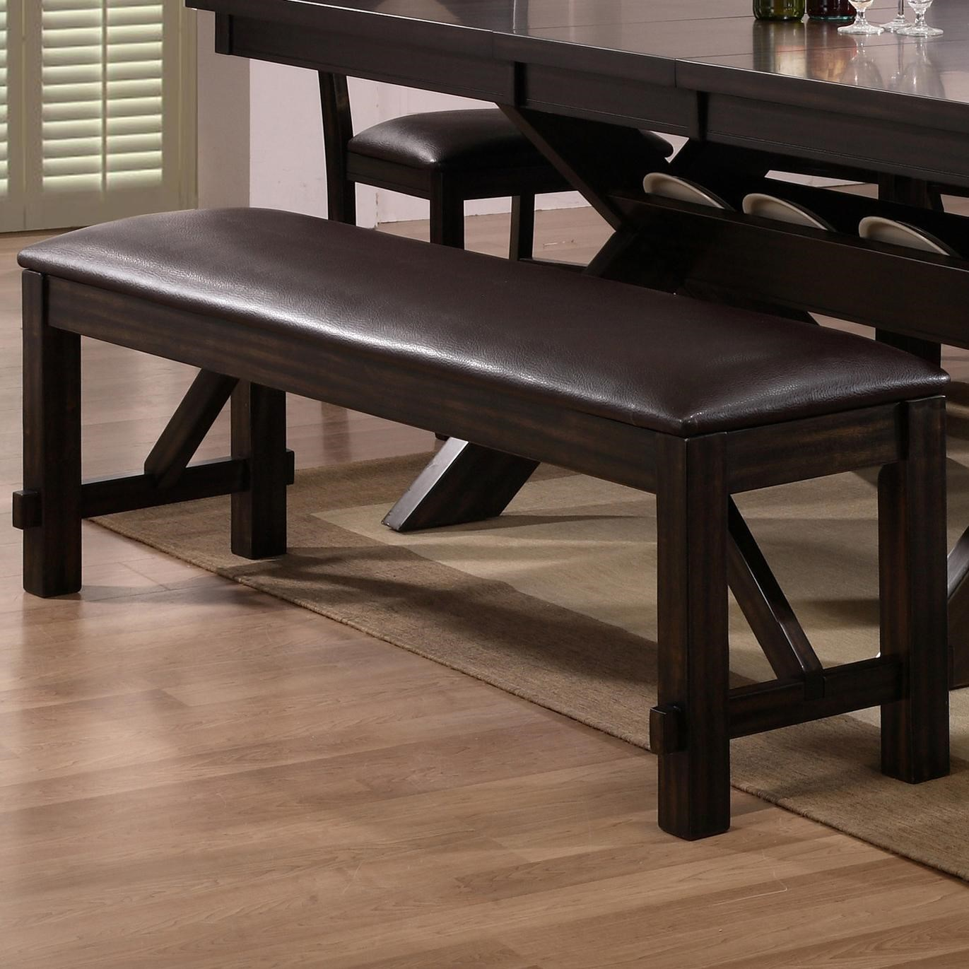 Crown Mark Havana Upholstered Dining Bench With Brown Faux Leather Cushion