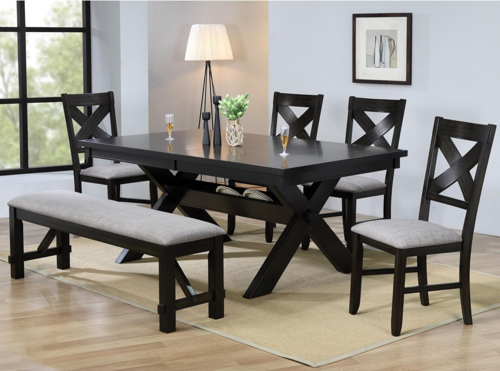 Crown Mark Havana 8 Piece Dining Table Chair Bench Set Dunk