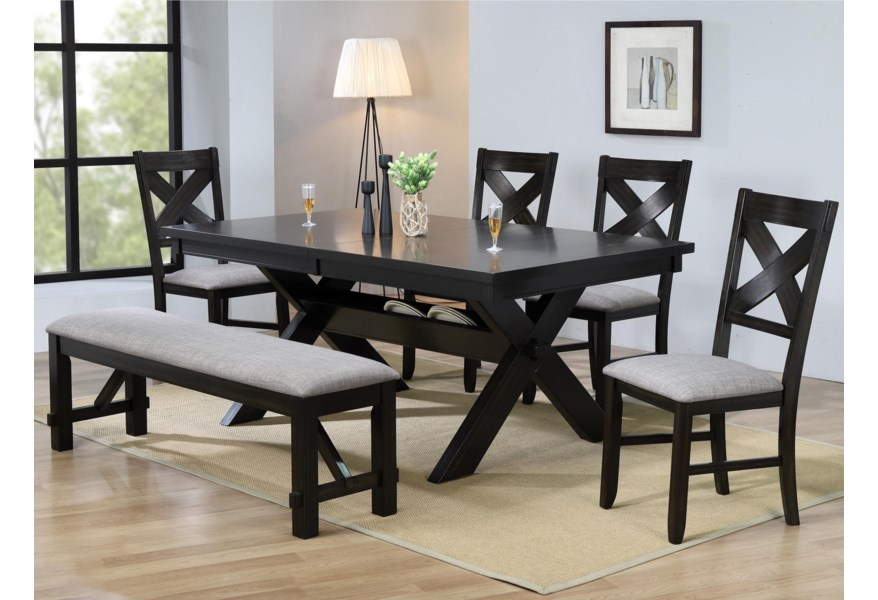 Crown Mark Havana Rectangular Dining Table With Storage Wilcox Furniture Table Chair Set With Bench