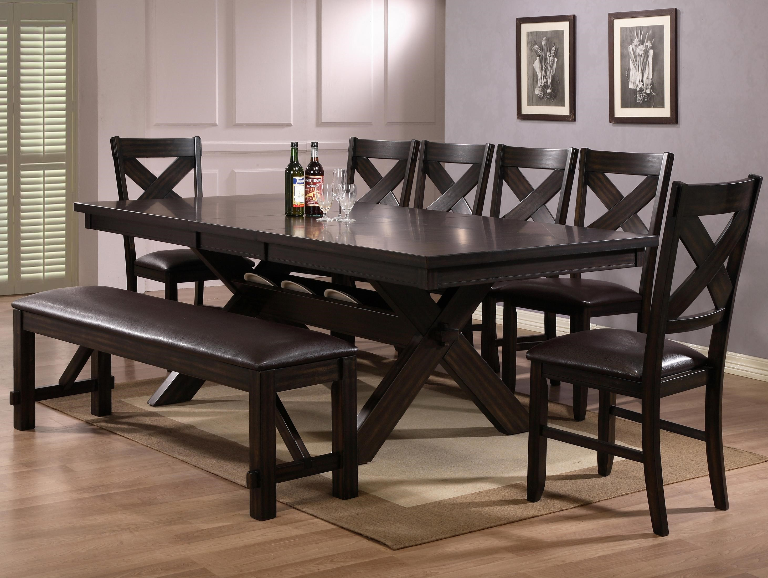 crown mark havana 8 piece dining table, chair & bench set