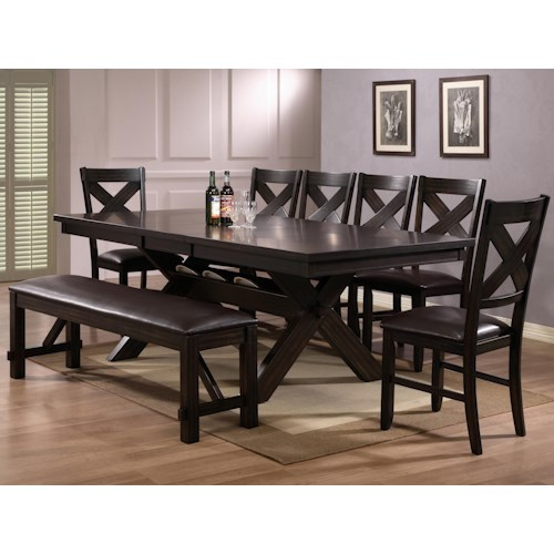Crown Mark Havana 8 Piece Dining Table, Chair & Bench Set | Wayside ...