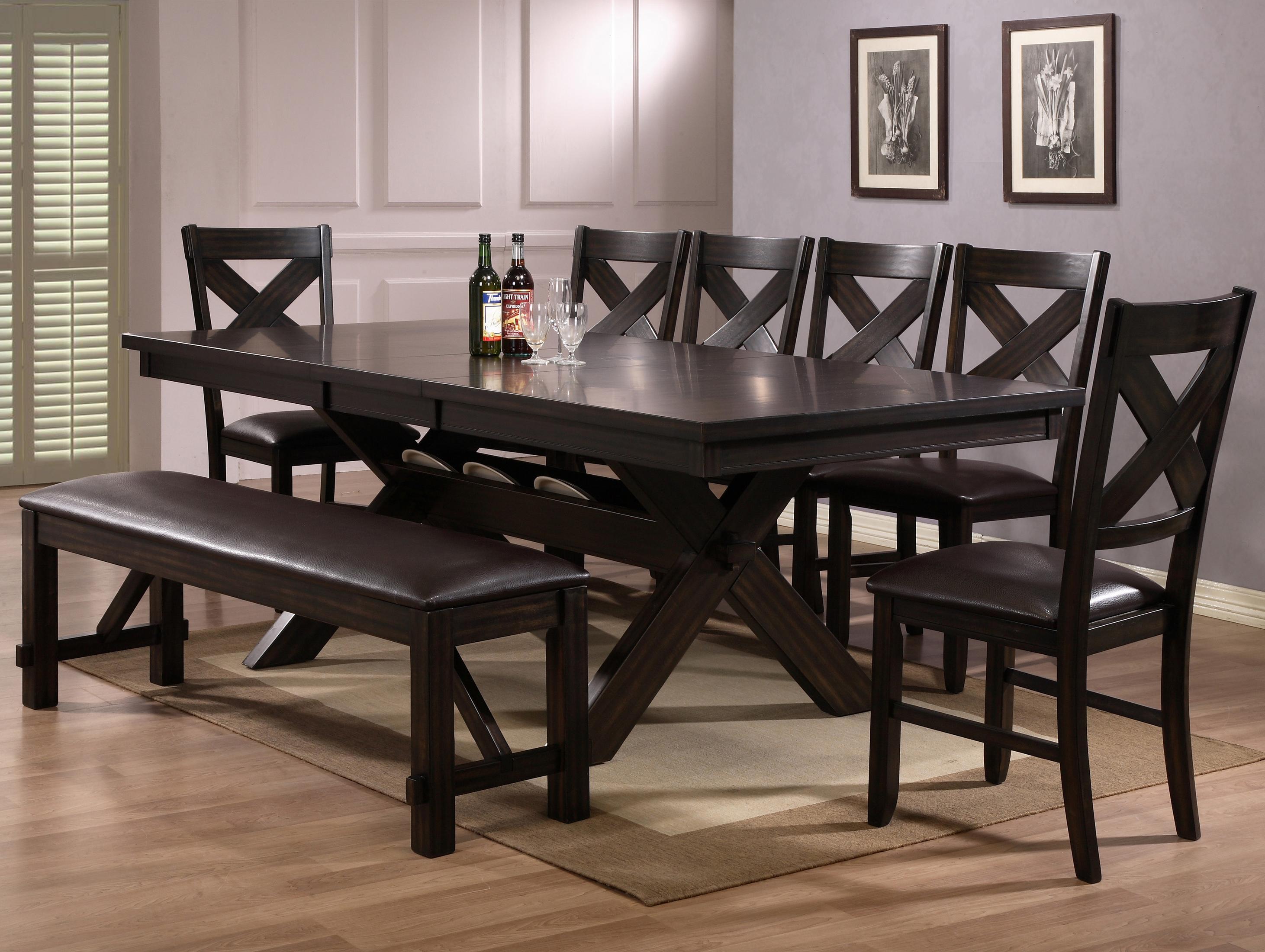 Beau Crown Mark Havana 8 Piece Dining Table, Chair U0026 Bench Set