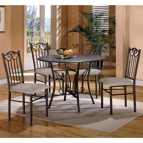Crown Mark Hayes 5 Piece Wood Top Dining Table and Upholstered Chairs Set