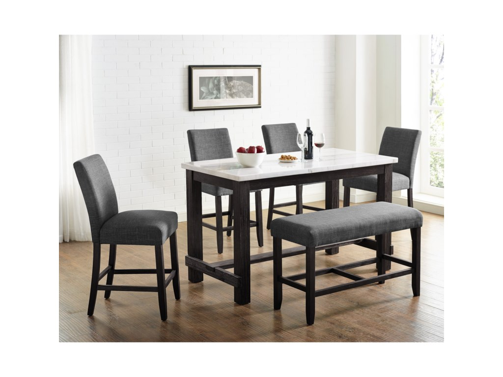 Crown Mark Hemlock6-Piece Dining Set with Bench
